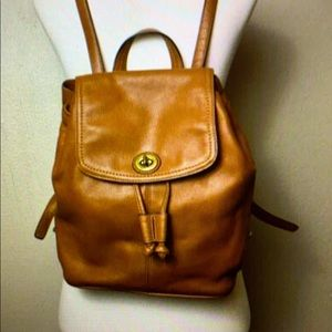 Coach brown cognac park leather mini backpack.